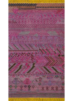 artisan originals pink and purple wool hand knotted Rug