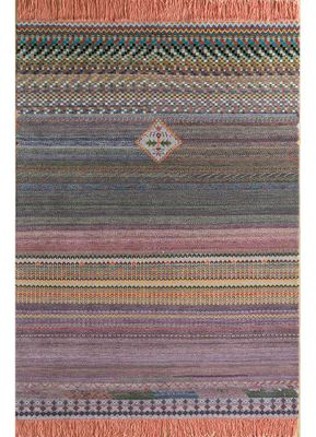artisan originals pink and purple wool and bamboo silk hand knotted Rug