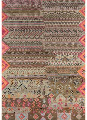 artisan originals beige and brown wool and bamboo silk hand knotted Rug