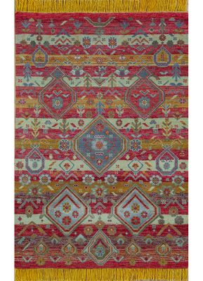 artisan originals red and orange wool and bamboo silk hand knotted Rug