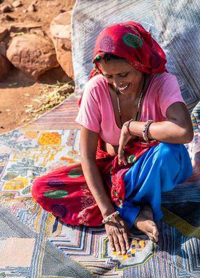 artisan originals blue silk hand knotted Rug
