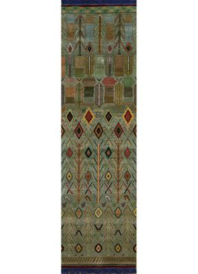 artisan originals green wool and bamboo silk hand knotted Rug
