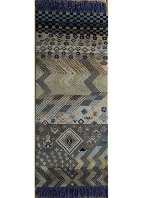 artisan originals blue wool and bamboo silk hand knotted Rug