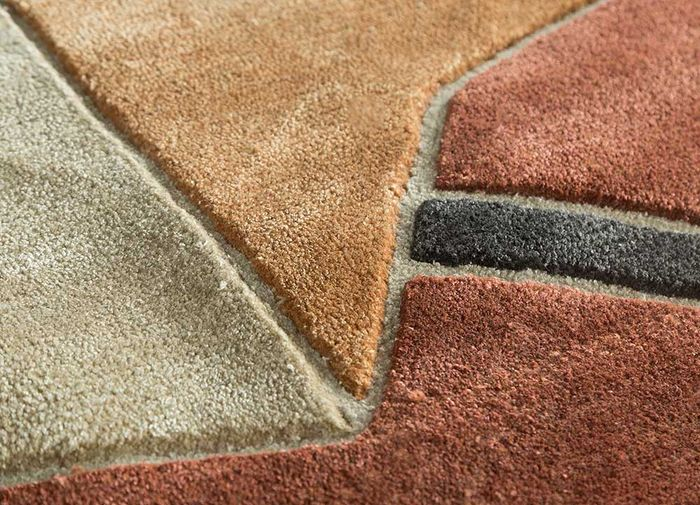 archetype red and orange wool and viscose hand tufted Rug - CloseUp