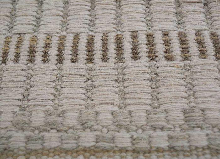 aqua ivory wool flat weaves Rug - CloseUp