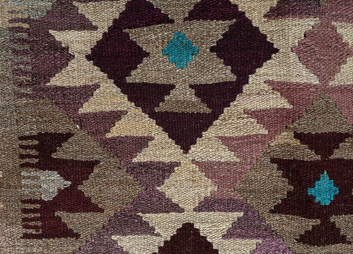 bedouin beige and brown wool flat weaves Rug - CloseUp