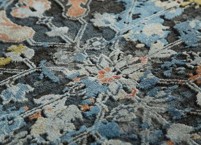 far east grey and black wool and bamboo silk hand knotted Rug - CloseUp