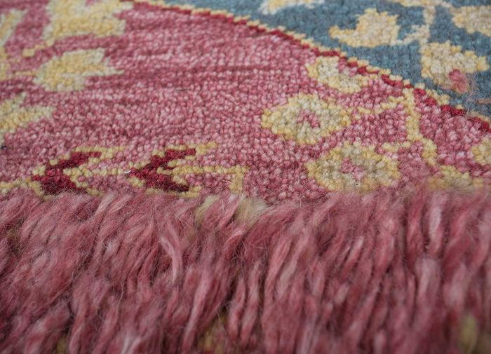 arfa red and orange wool hand knotted Rug - CloseUp