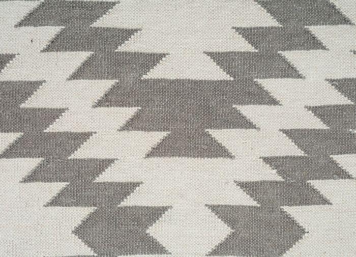 bedouin grey and black cotton flat weaves Rug - CloseUp