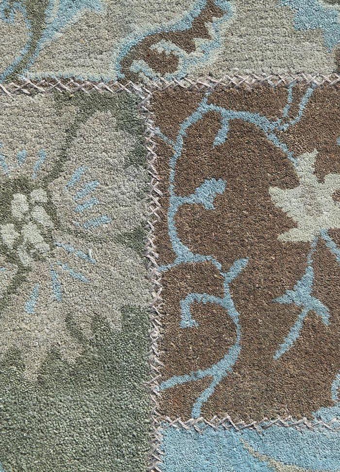 provenance blue wool patchwork Rug - CloseUp