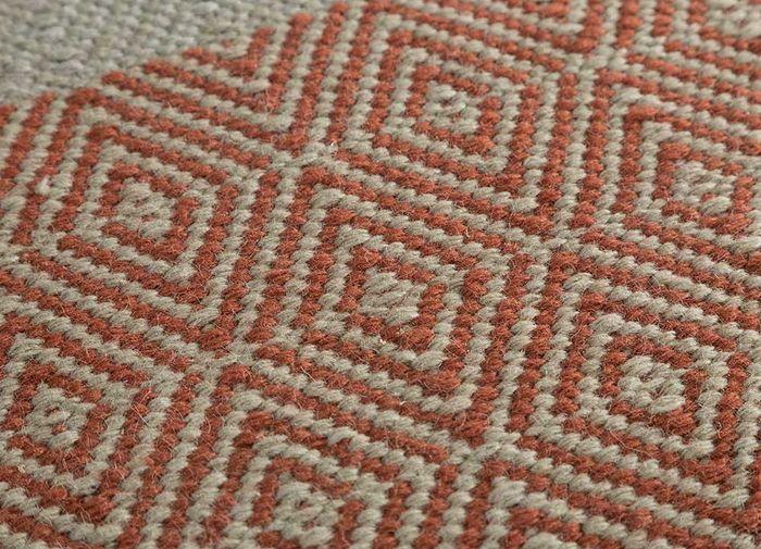kaross red and orange wool flat weaves Rug - CloseUp