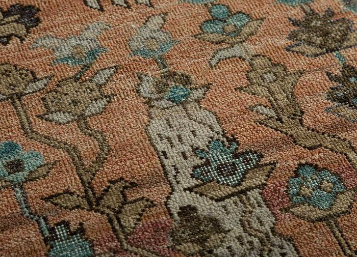 someplace in time red and orange wool hand knotted Rug - CloseUp