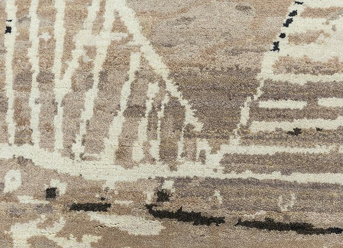 safari beige and brown wool hand knotted Rug - CloseUp