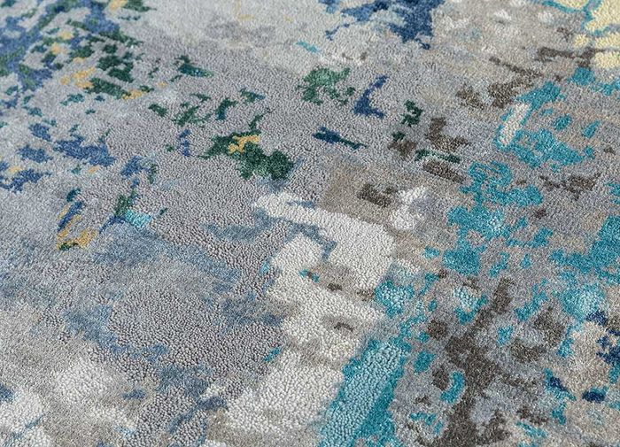 project error by kavi grey and black wool and bamboo silk hand knotted Rug - CloseUp