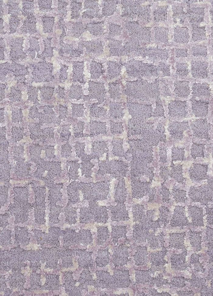 project error by kavi pink and purple wool and bamboo silk hand knotted Rug - CloseUp
