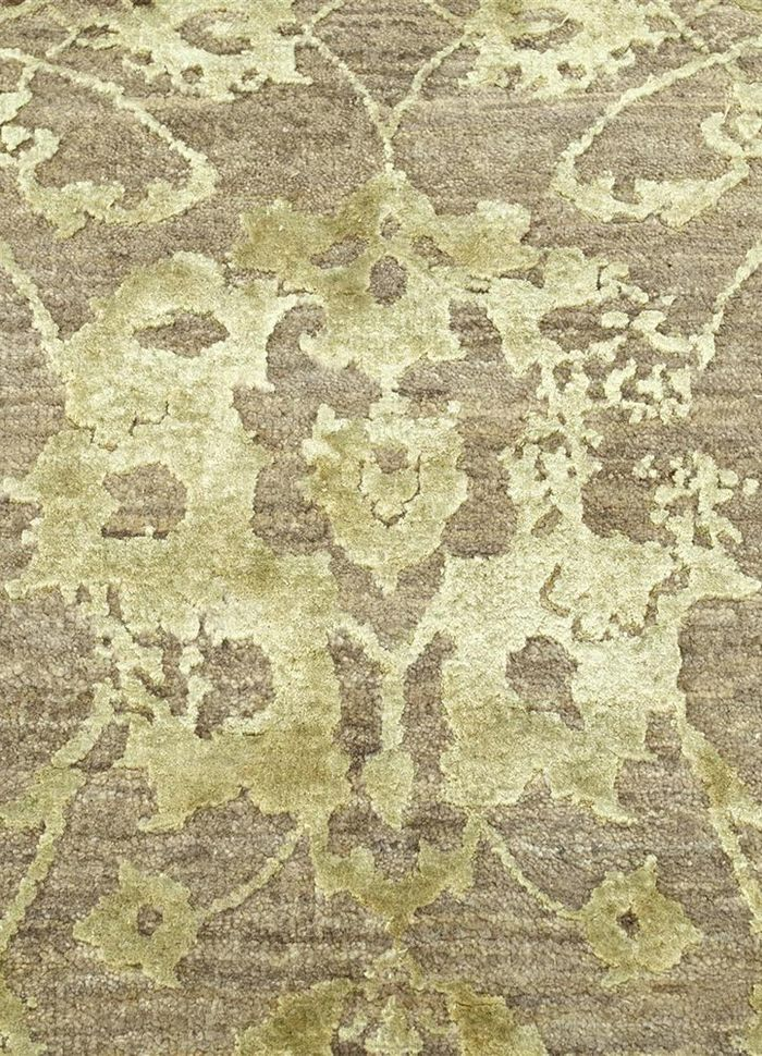 chaos theory by kavi beige and brown wool and bamboo silk hand knotted Rug - CloseUp