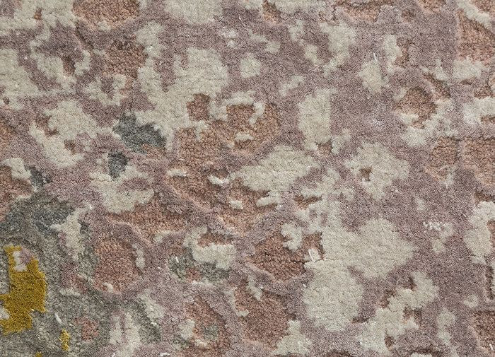 tattvam pink and purple wool and bamboo silk hand knotted Rug - CloseUp