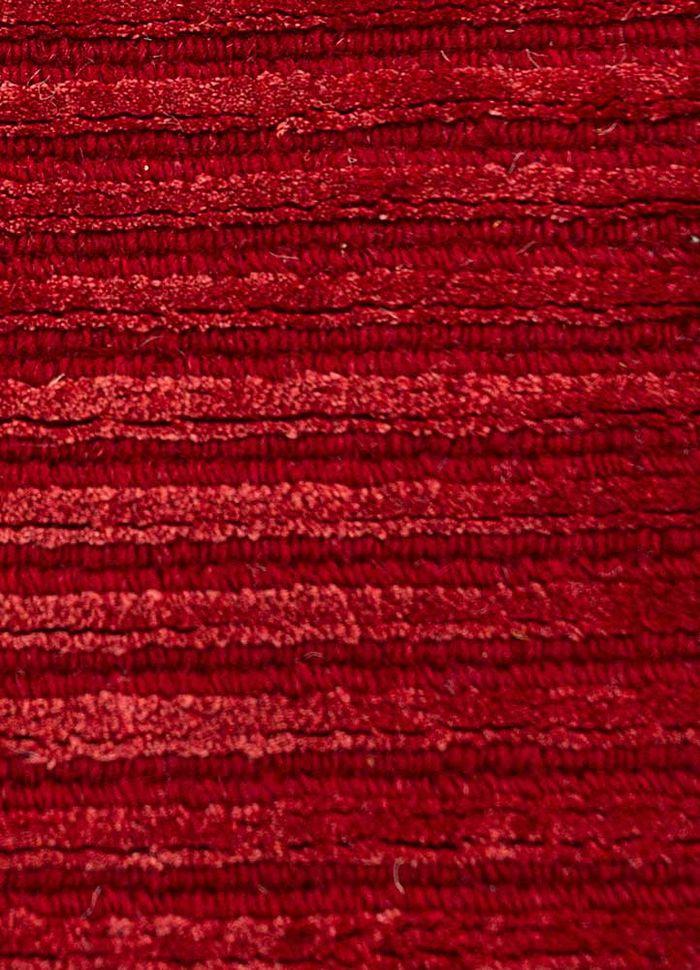 basis red and orange wool and viscose hand loom Rug - CloseUp