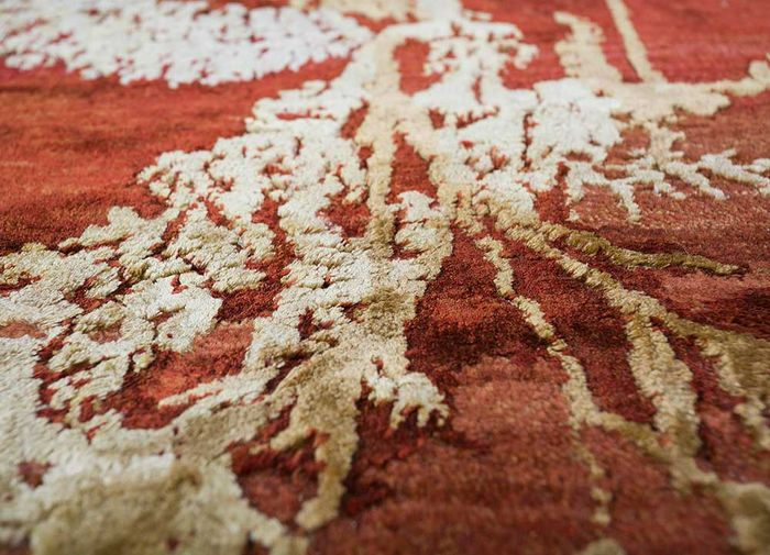 pansy red and orange wool and silk hand knotted Rug - CloseUp