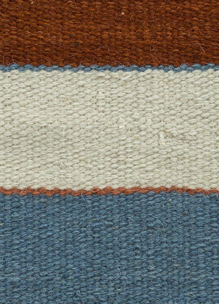 aqua multi wool flat weaves Rug - CloseUp