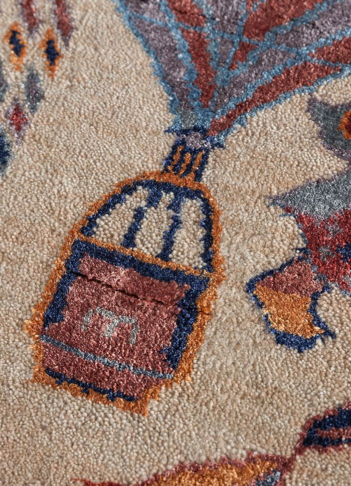 artisan originals beige and brown wool and bamboo silk hand knotted Rug - CloseUp
