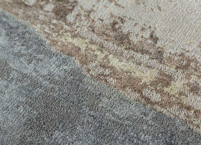 faulty by kavi ivory wool and bamboo silk hand knotted Rug - CloseUp
