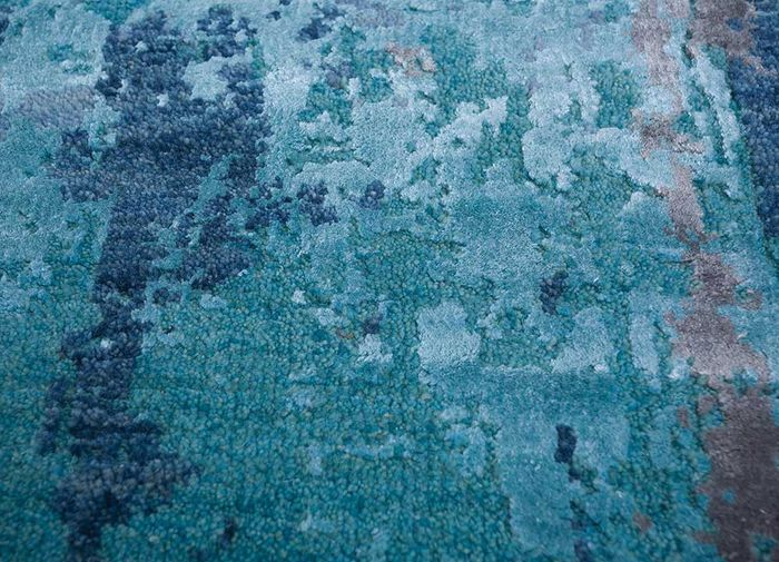 faulty by kavi grey and black wool and bamboo silk hand knotted Rug - CloseUp