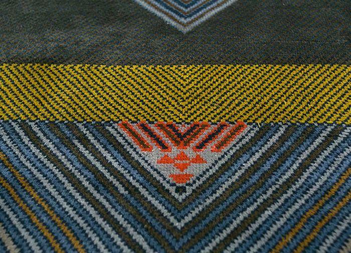 artisan originals blue silk hand knotted Rug - CloseUp