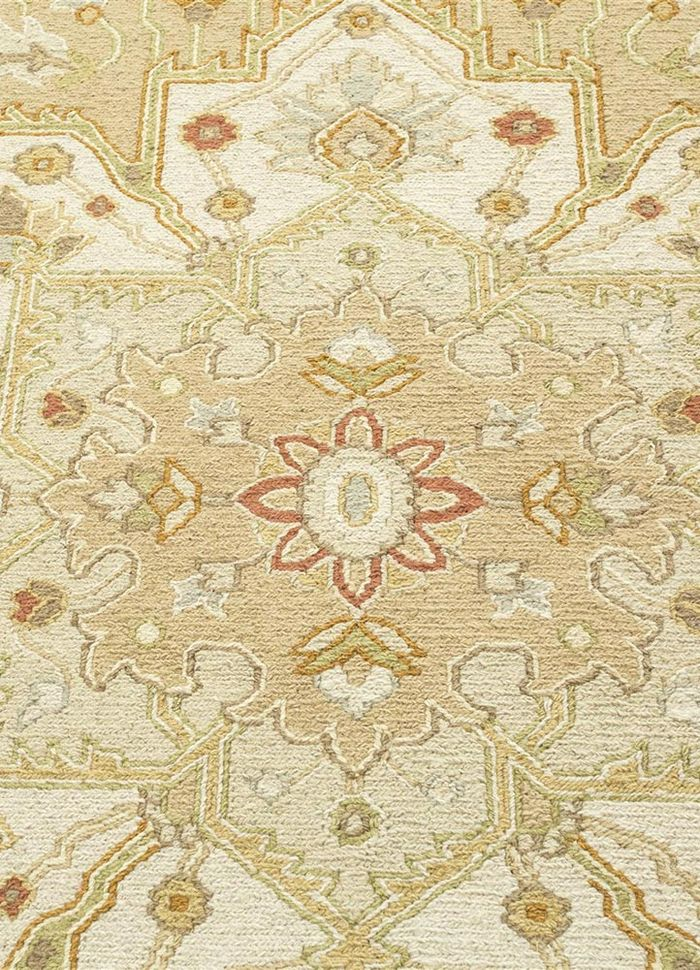 jaimak beige and brown wool hand knotted Rug - CloseUp