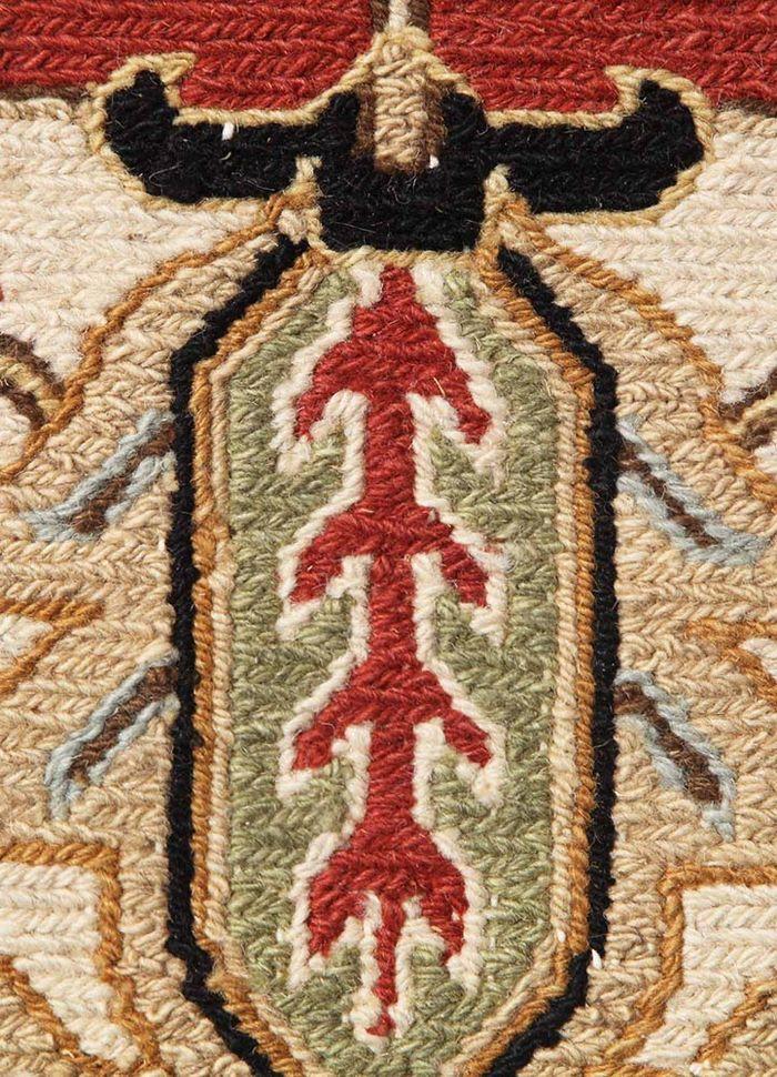 jaimak red and orange wool hand knotted Rug - CloseUp