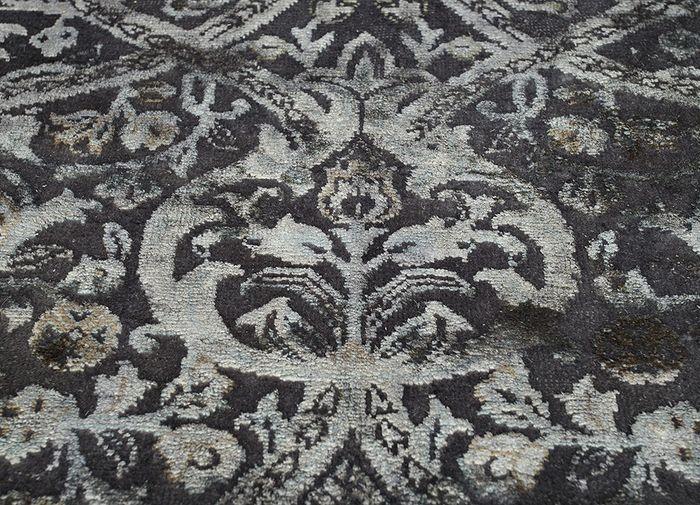 lacuna grey and black wool and silk hand knotted Rug - CloseUp