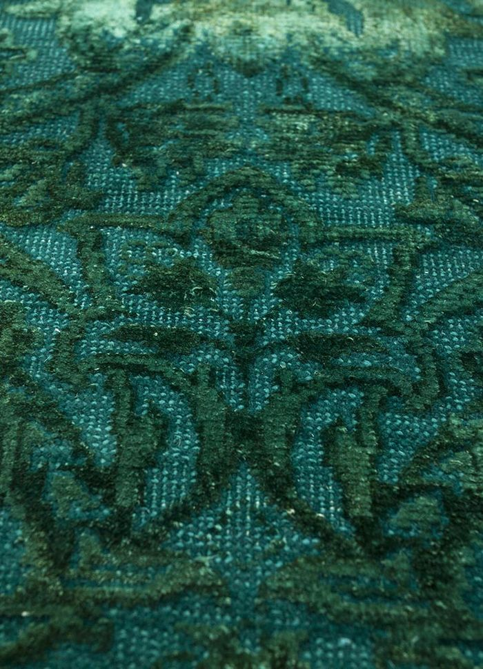lacuna green wool and silk hand knotted Rug - CloseUp