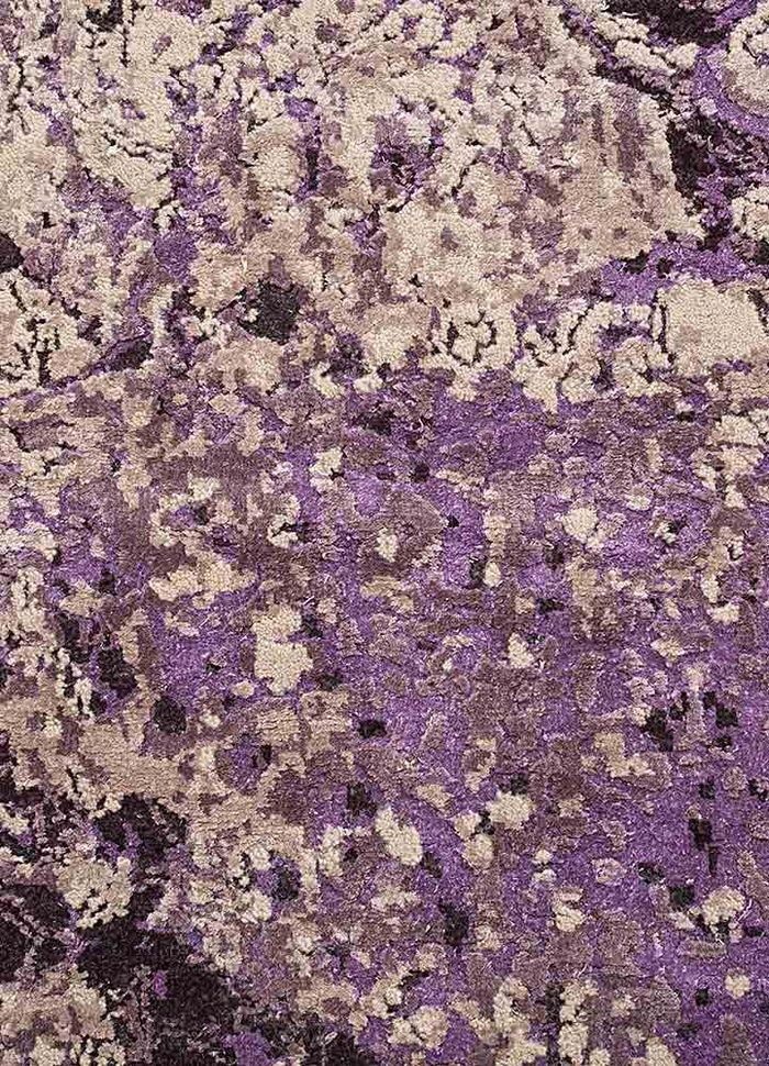 pansy pink and purple wool and silk hand knotted Rug - CloseUp