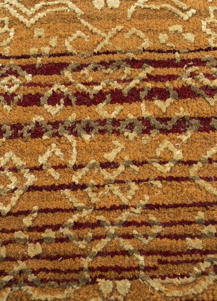 viscaya red and orange wool and silk hand knotted Rug - CloseUp