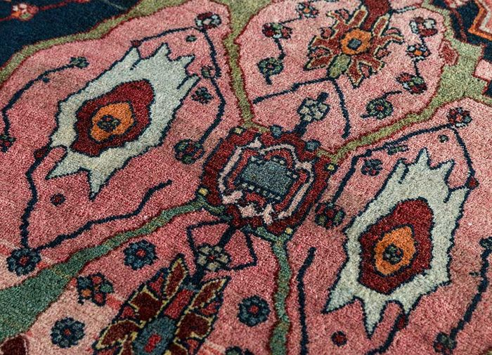 antique pink and purple wool hand knotted Rug - CloseUp