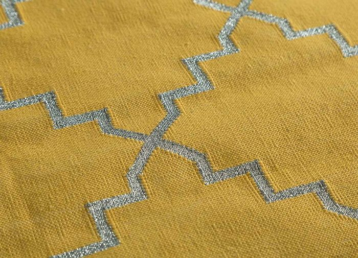 indusbar gold cotton flat weaves Rug - CloseUp