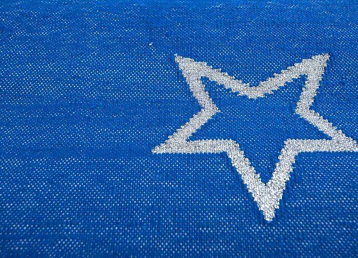 anatolia blue cotton flat weaves Rug - CloseUp