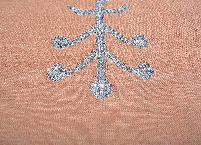 heritage red and orange cotton flat weaves Rug - CloseUp