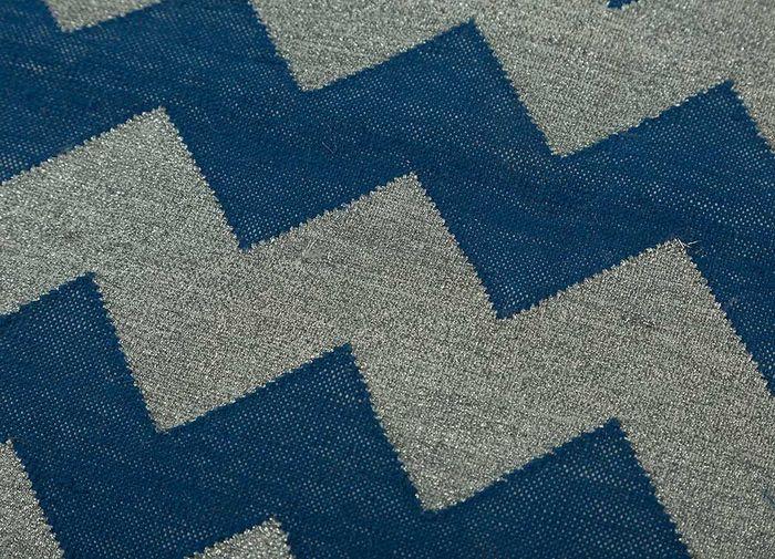 indusbar blue cotton flat weaves Rug - CloseUp