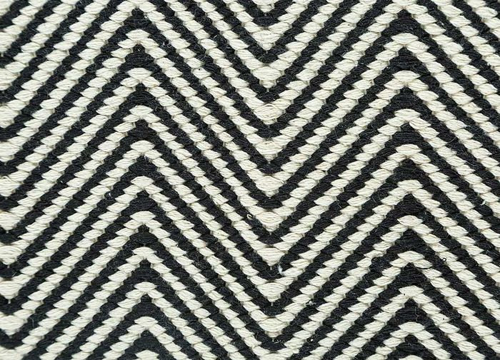 aqua grey and black cotton flat weaves Rug - CloseUp