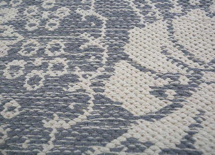 heritage blue cotton flat weaves Rug - CloseUp