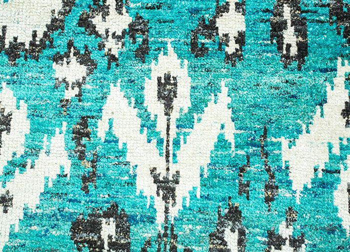 verna blue others hand knotted Rug - CloseUp