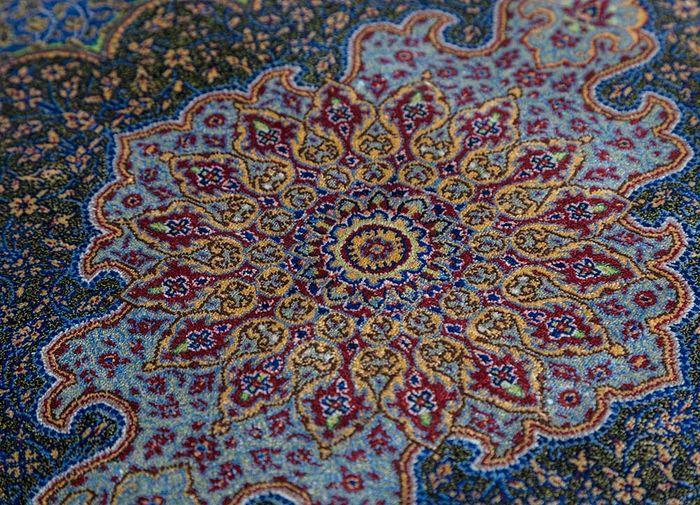 iranian blue silk hand knotted Rug - CloseUp
