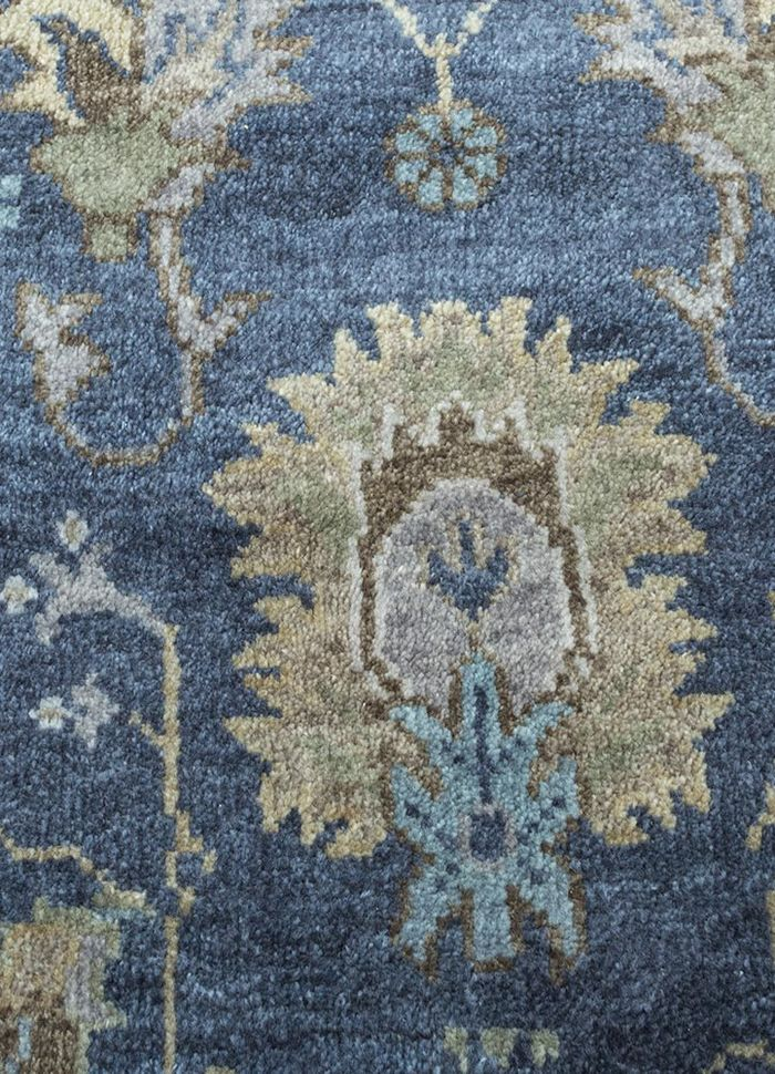 liberty blue wool hand knotted Rug - CloseUp