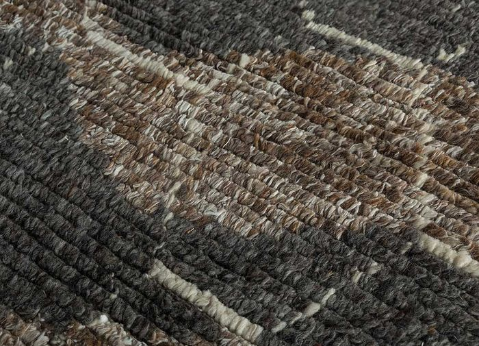 zuri beige and brown wool hand knotted Rug - CloseUp