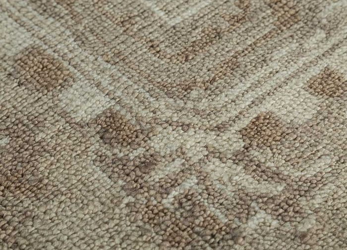 liberty beige and brown wool hand knotted Rug - CloseUp