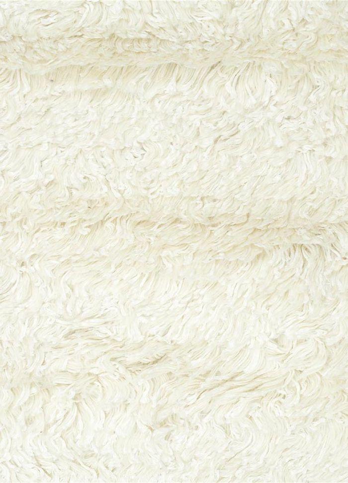 aprezo ivory wool and viscose shag Rug - CloseUp