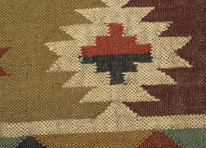 bedouin red and orange jute and hemp flat weaves Rug - CloseUp
