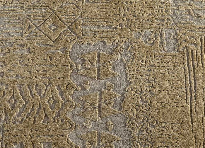 free verse by kavi ivory wool and silk hand knotted Rug - CloseUp