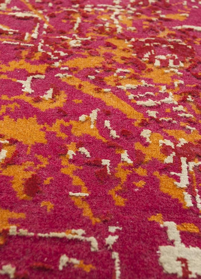 free verse by kavi red and orange wool and silk hand knotted Rug - CloseUp